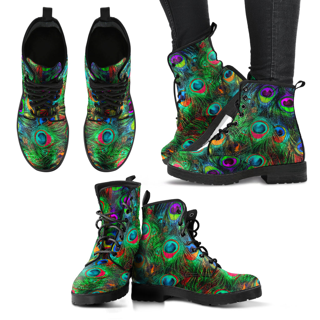 Peacock Feather Boots Women's Leather Boots