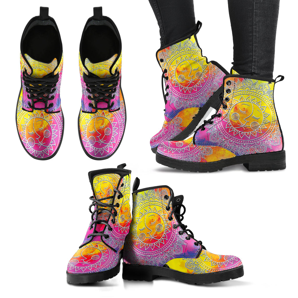 Sun and Moon Boots Mandala Women's Leather Boots