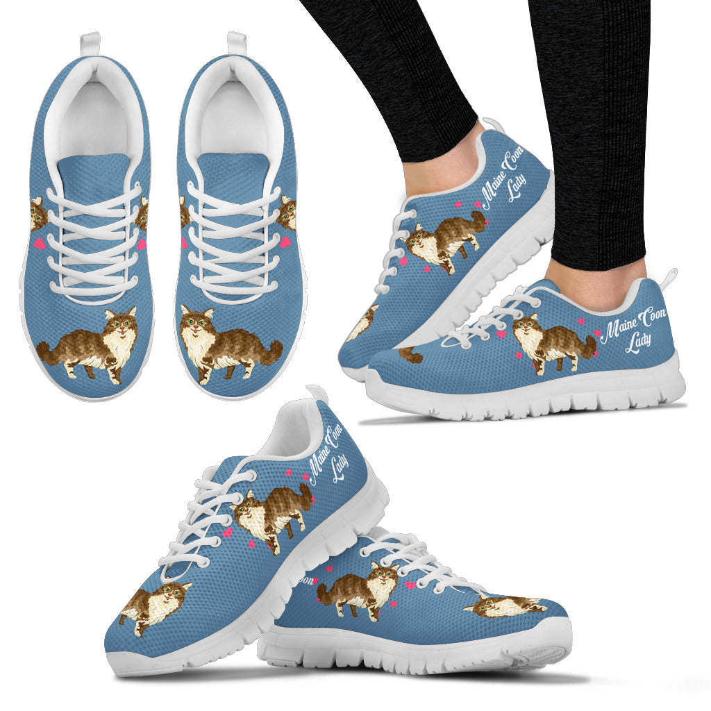 Maine Coon Cat Shoes white Women's Sneakers