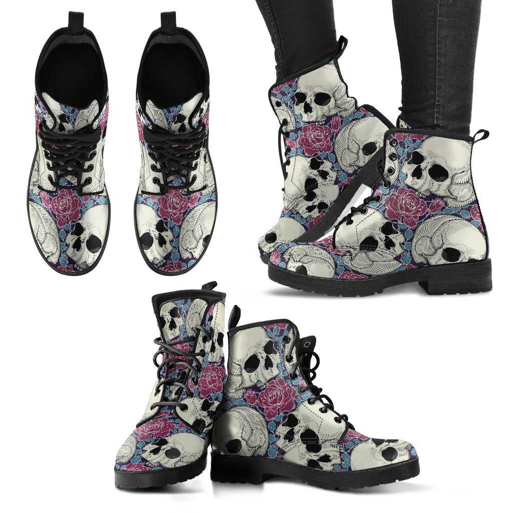 Skull Boots Rose Boots Women's Leather Boots