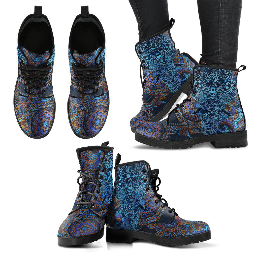 Elephant Mandala Boots Women's Leather Boots Elephant Boots