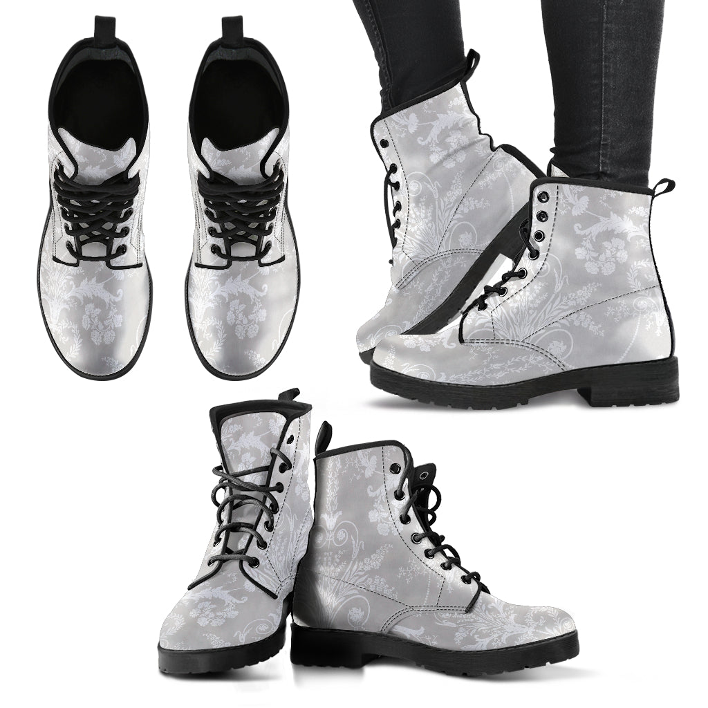 Grey Boots Gray Boots for Women Gray Booties Damask Leather Boots