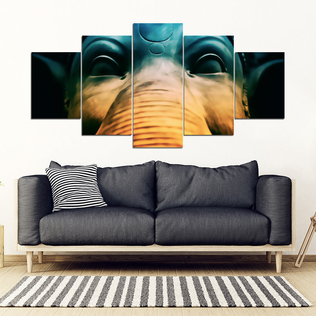 Elephant Wall Art Elephant Statue 5 Piece Framed Canvas