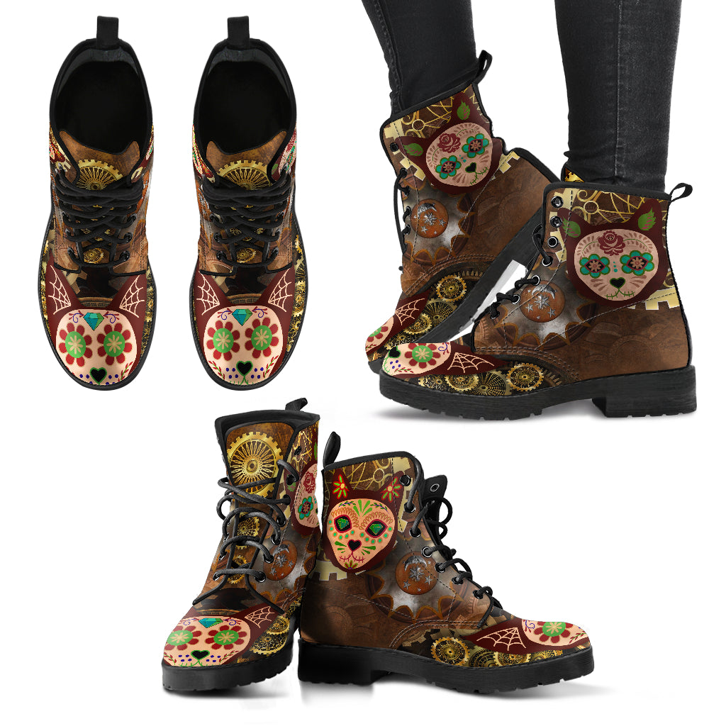 Steampunk Skull Cat Women's Leather Boots
