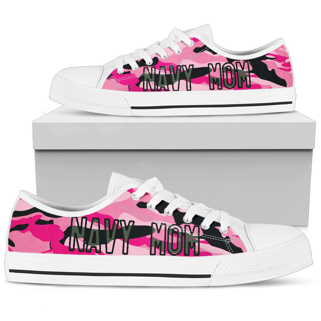 Proud Navy Mom Shoes Pink Camouflage
