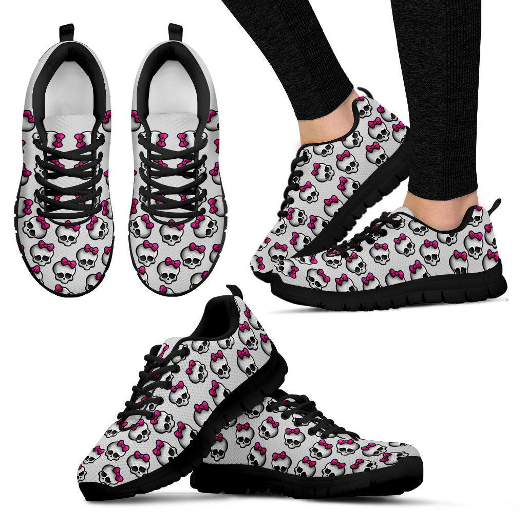 Pink Ribbon Skull Shoes Women's Sneakers