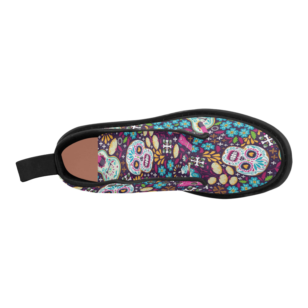 fa3ad18a271 Day of The Dead Sugar Skull Women's Lace Up Canvas Boots