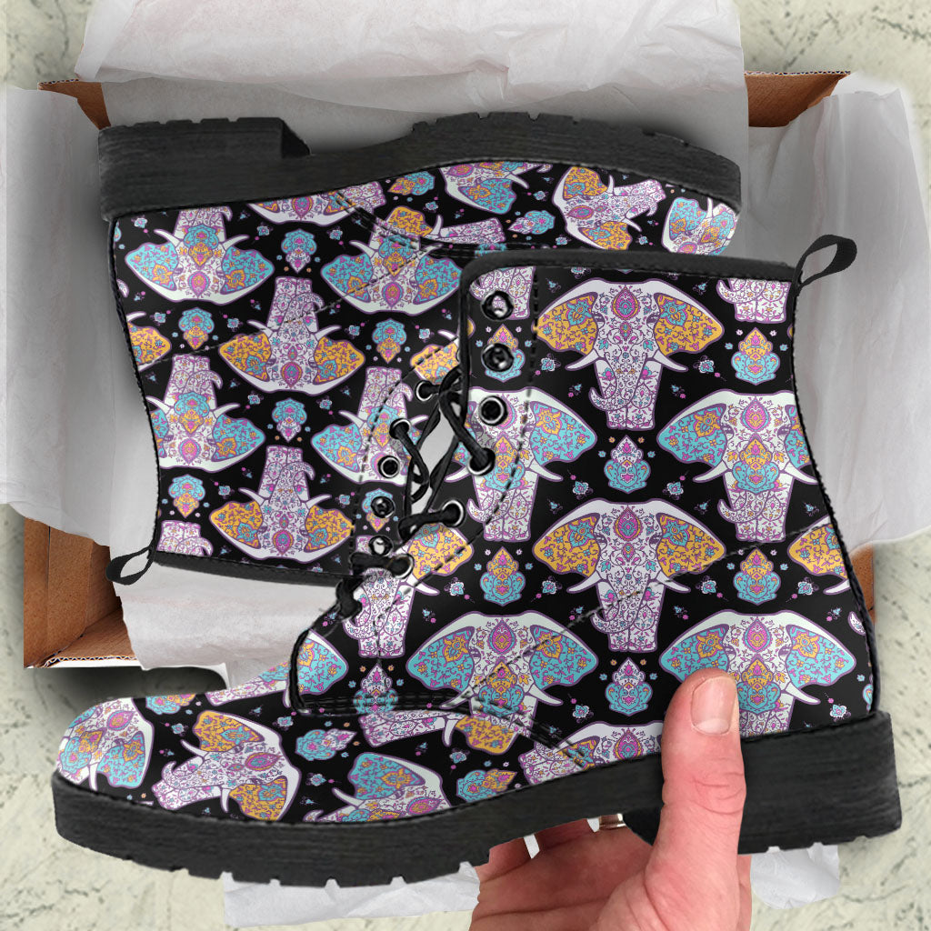 Elephant Mandala Boots Black Women's Leather Boots