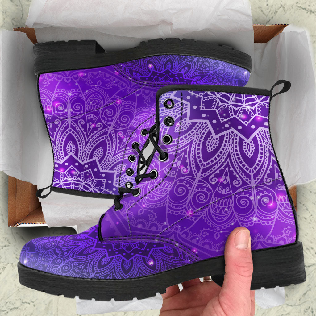Purple Bohemian Boho Boots Mandala Hippie Women's Leather Boots