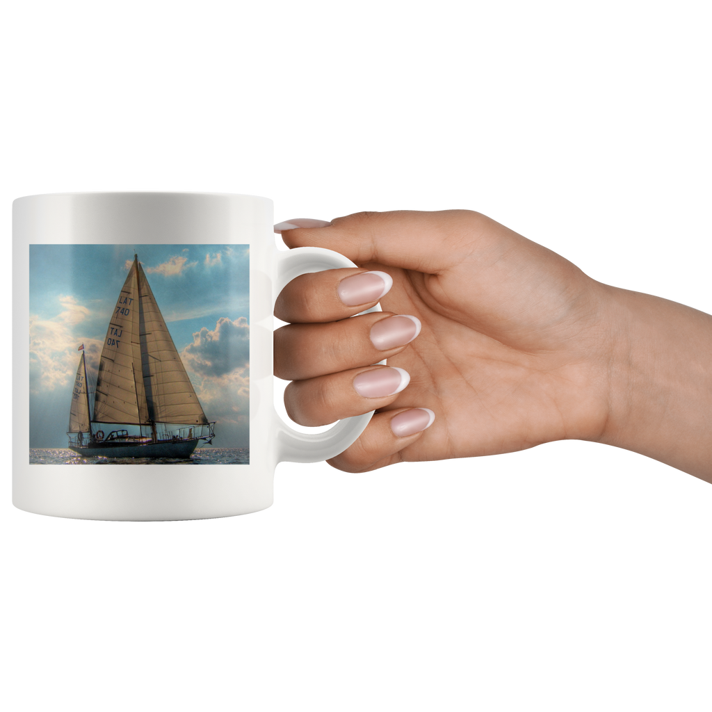 Sailboat Drinking White Ceramic Coffee Mug Sailing Ship Cup