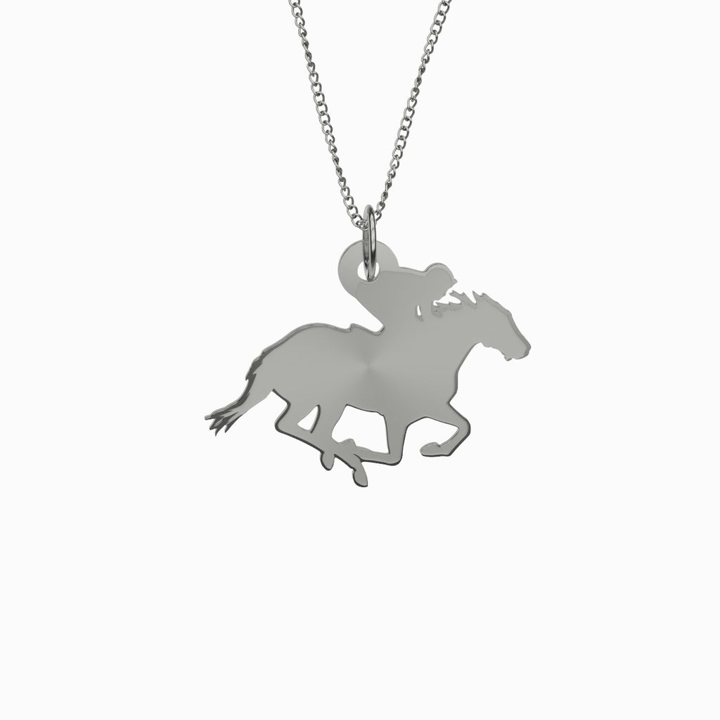 Race Horse Necklace 925 Sterling Silver