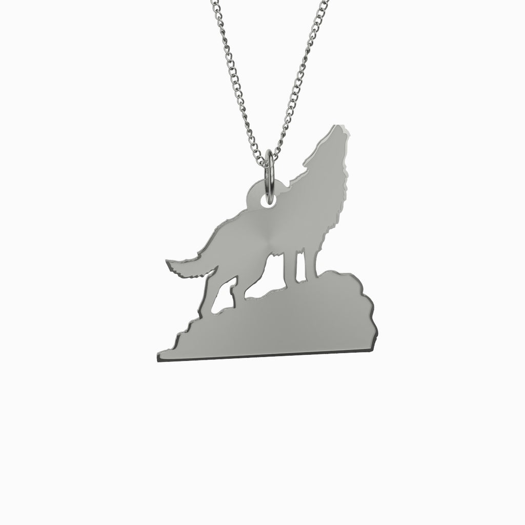 Howling Wolf Necklace 925 Sterling Silver