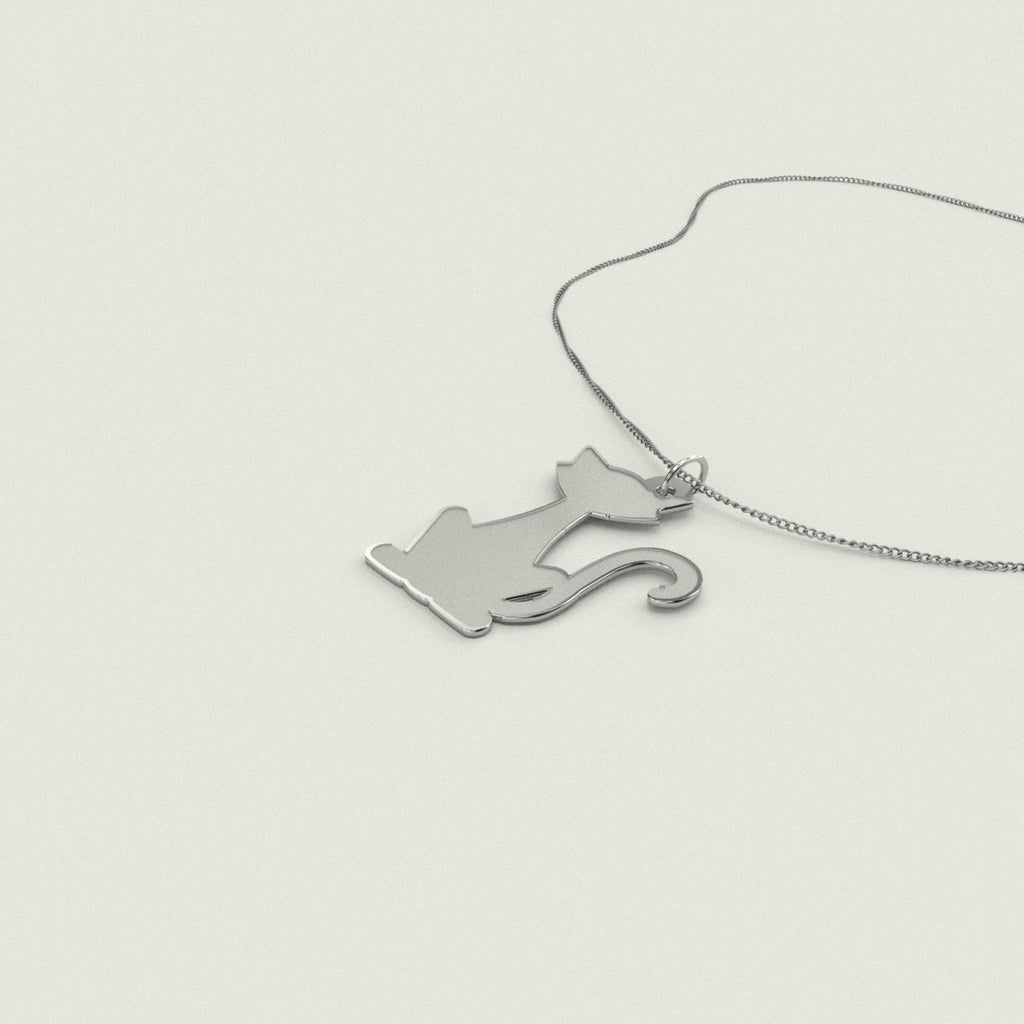 Cute Cat Necklace 925 Sterling Silver Pendant