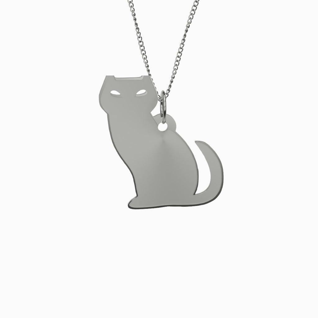 Evil Cat Necklace 925 Sterling Silver Pendant