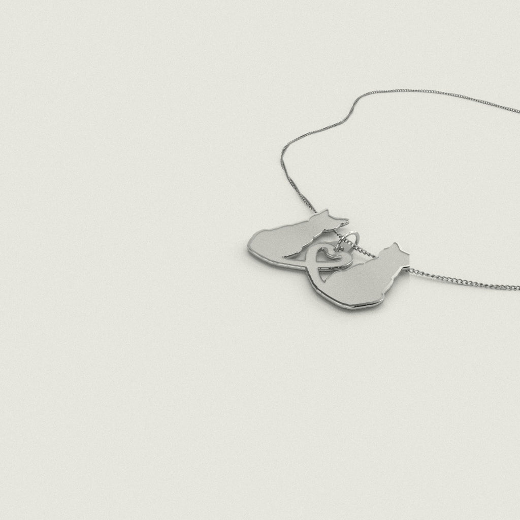 Love Cat Necklace 925 Sterling Silver Pendant