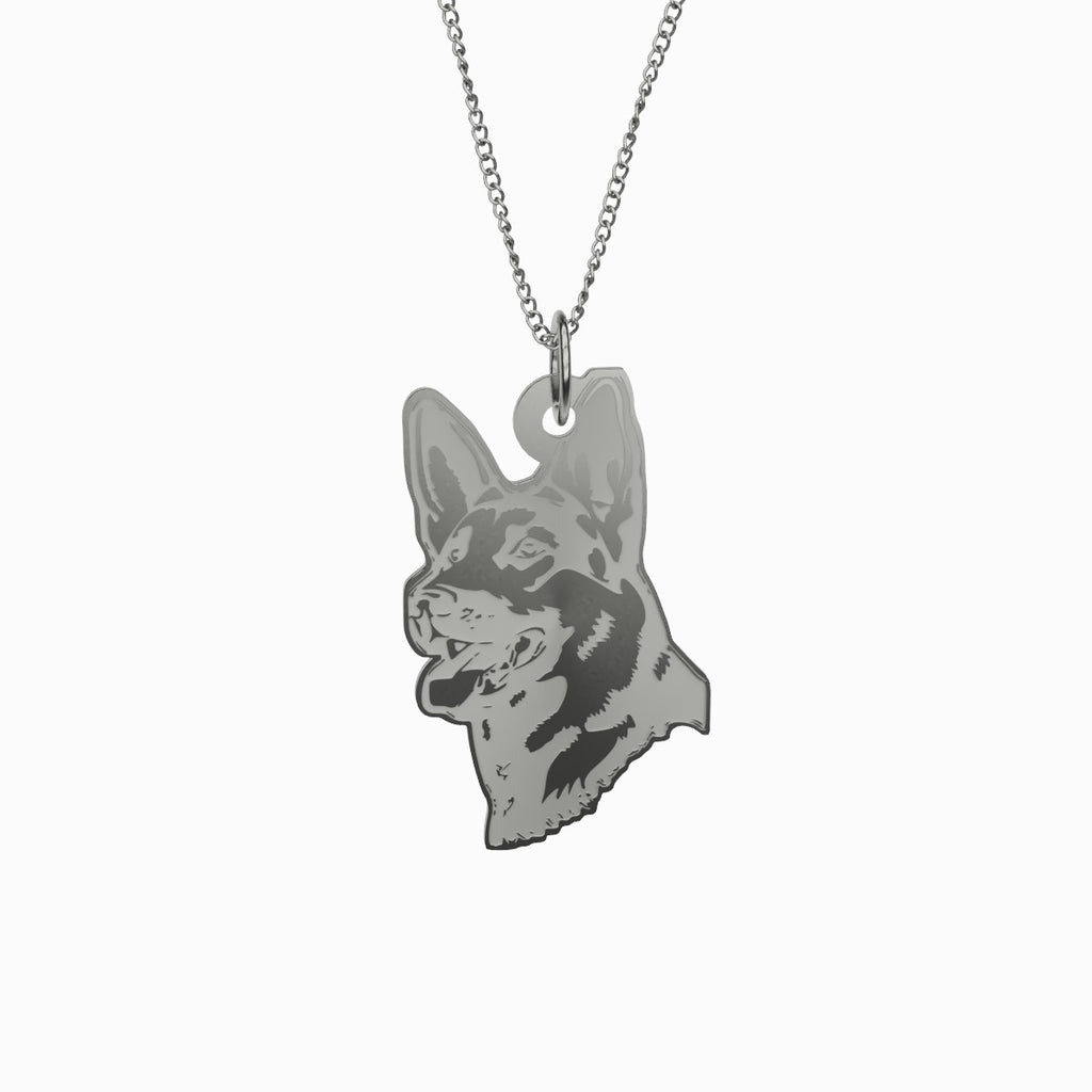 German Shepherd Necklace 925 Sterling Silver Pendant