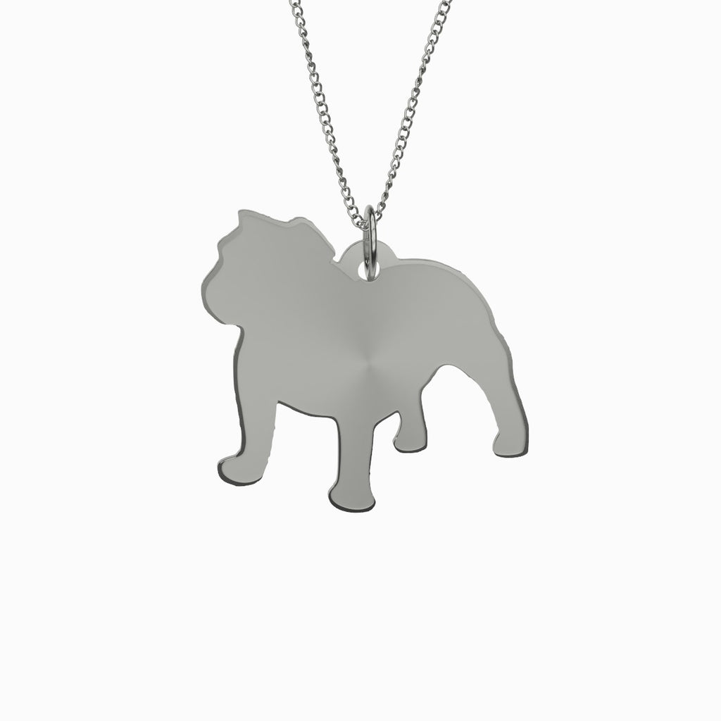 English Bulldog Necklace 925 Sterling Silver Pendant