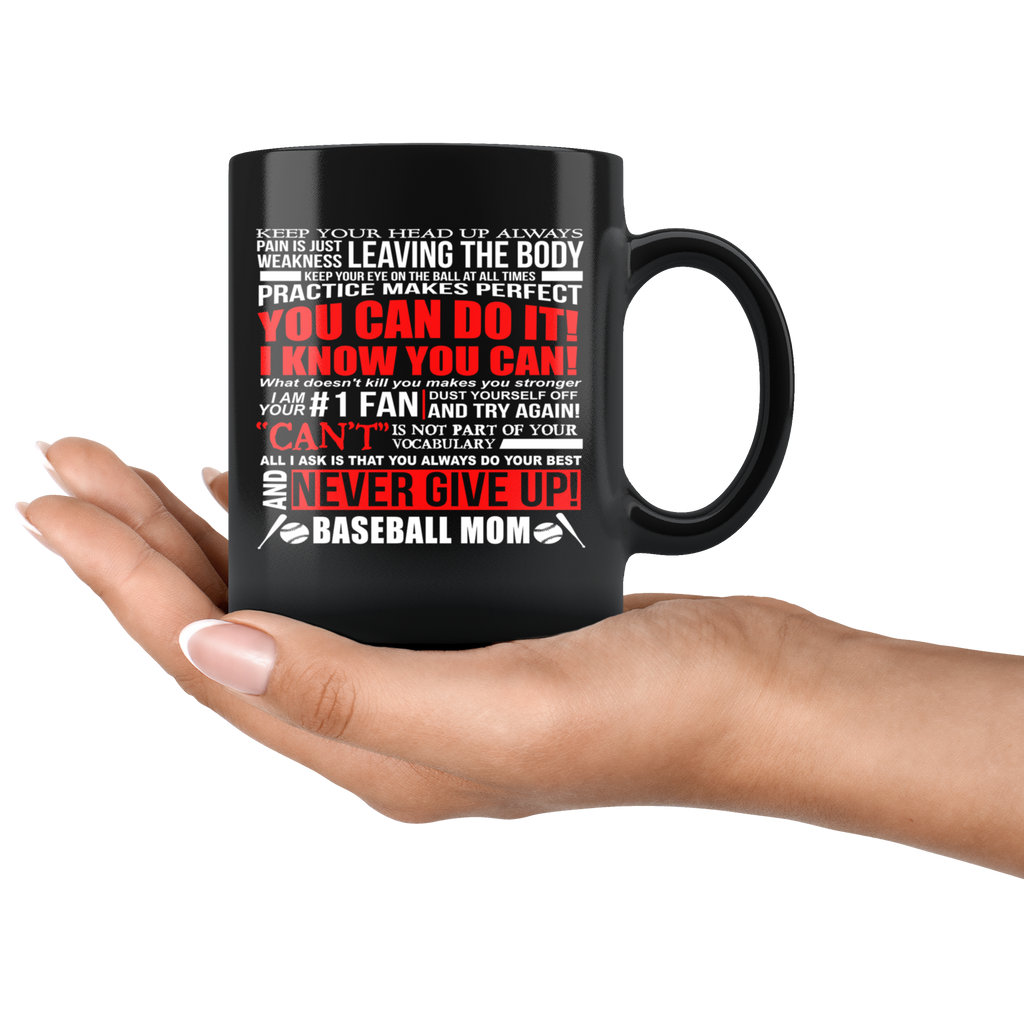 Baseball Mom Black Ceramic Coffee Mug Quotes Cup Sayings