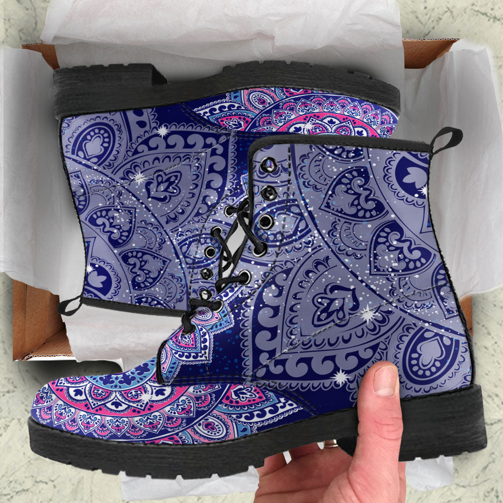Lotus Bohemian Boots Mandala Hippie Women's Leather Boots