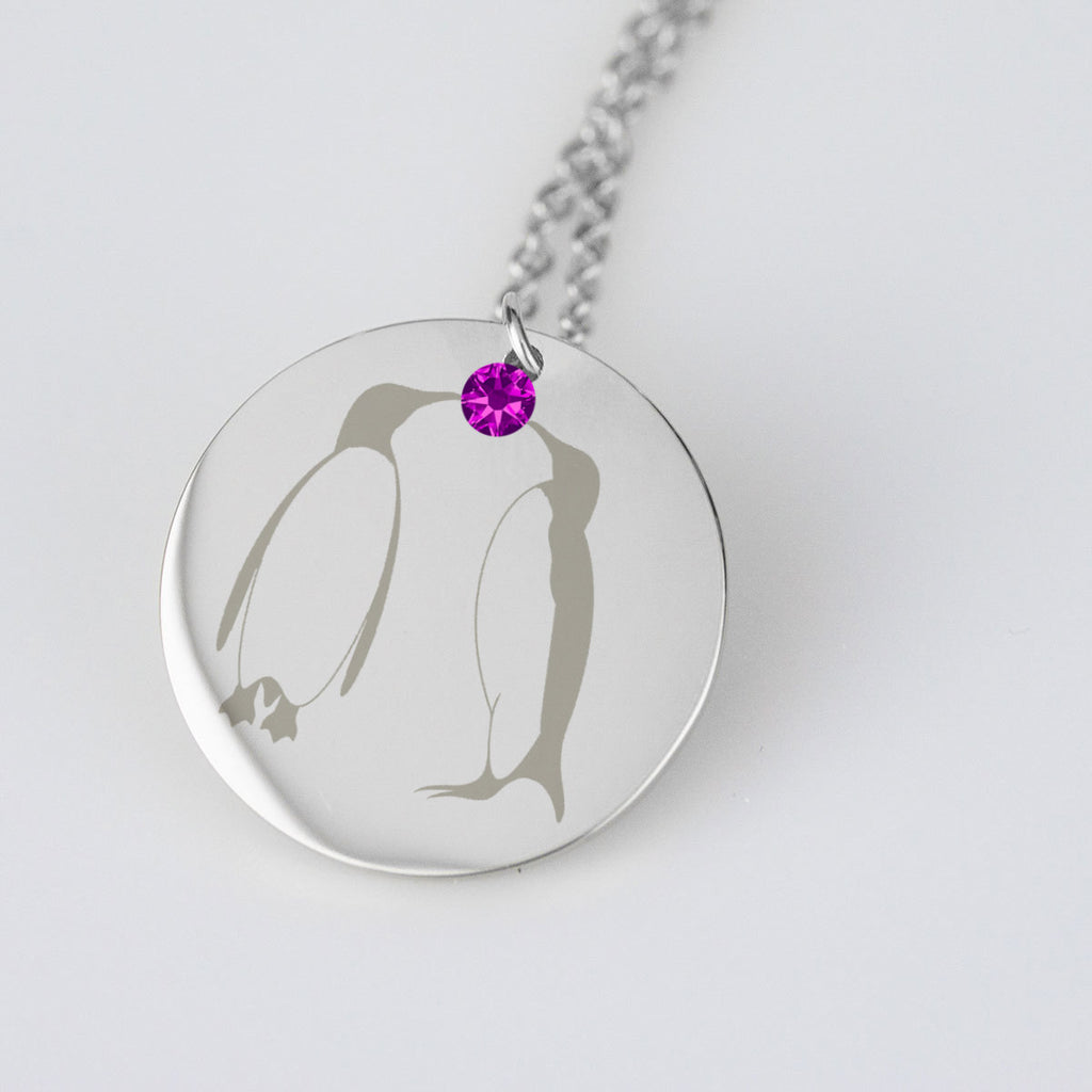 Penguin Necklace Custom Birthstone Pendant Engraved Jewelry