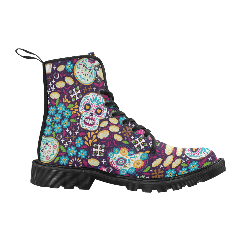 Day of The Dead Sugar Skull Women's Lace Up Canvas Boots