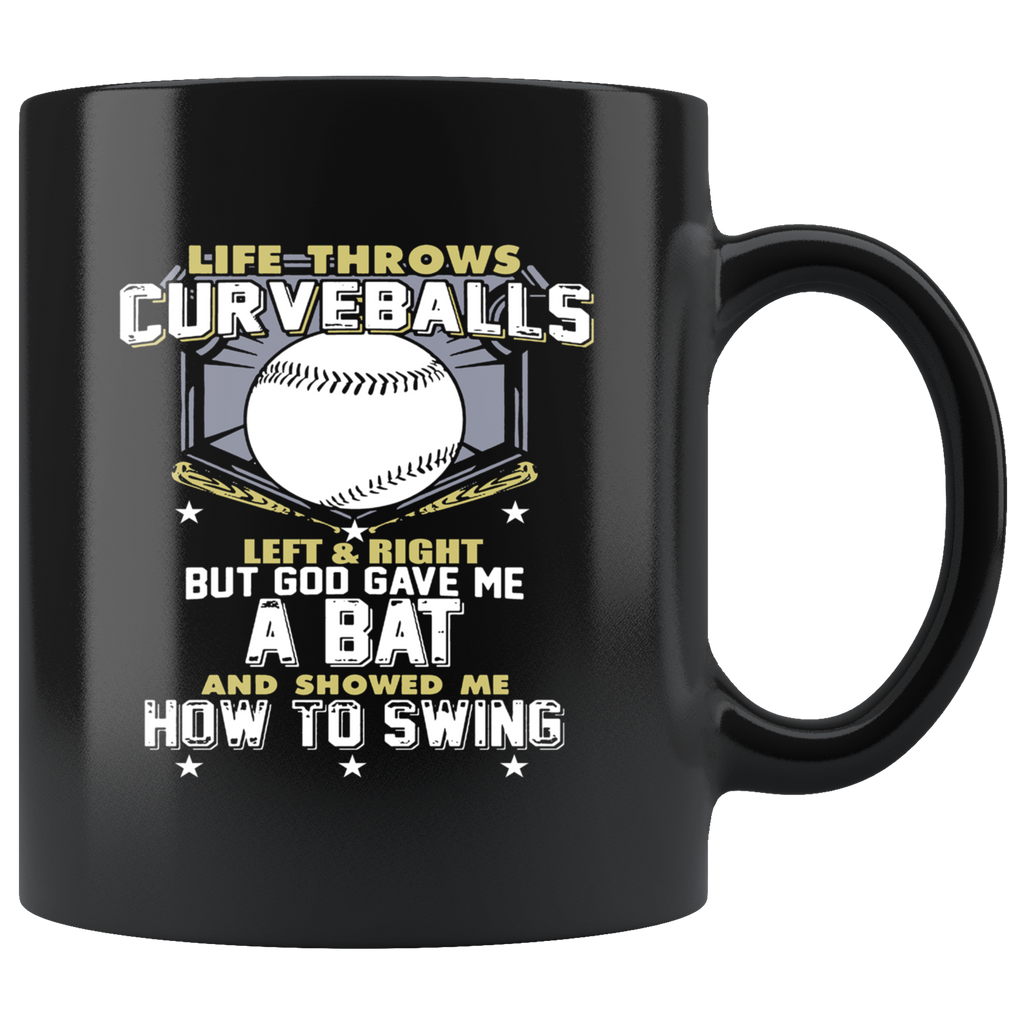 Baseball Bat Drinking Black Ceramic Coffee Mug Quotes Cup Sayings