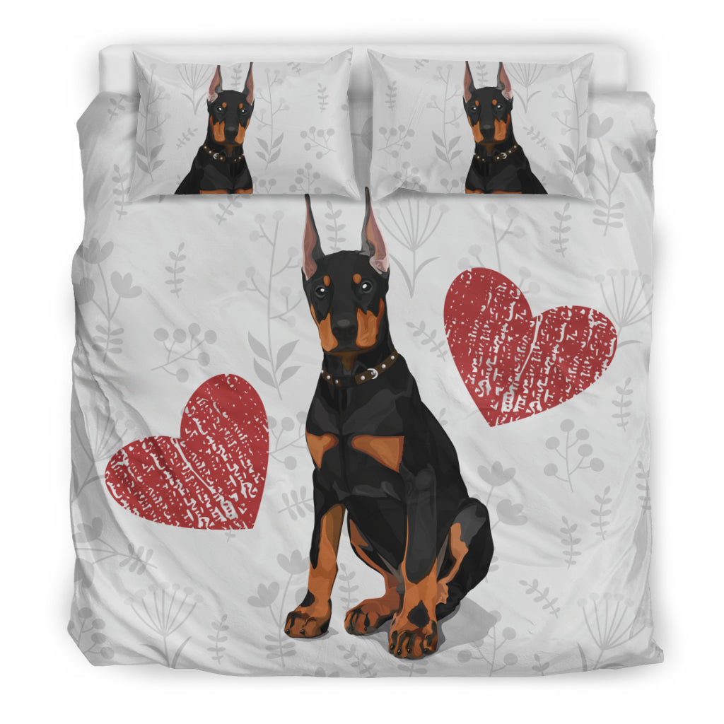 I Love Doberman Duvet Covers  Bedding Set for Lovers of Doberman Dogs