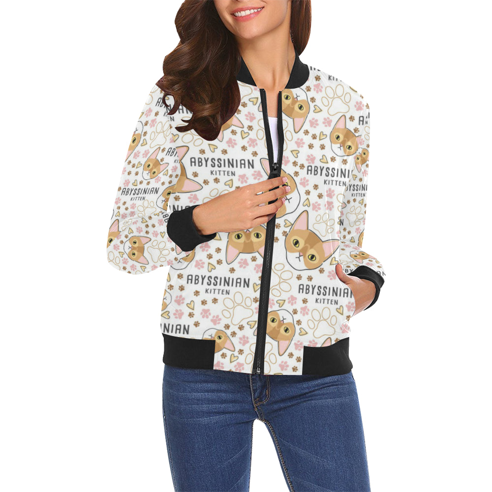 Abyssinian Cat Bomber Jacket for Women
