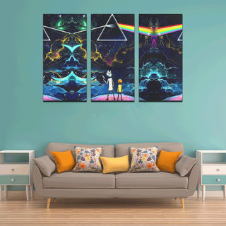 Rick & Morty Pink Floyd Dark Side of the Moon Canvas Wall Art X (3 pieces)