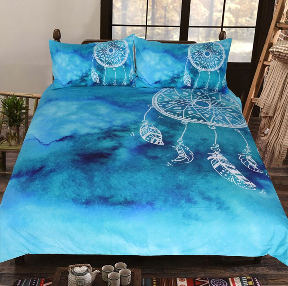 Dreamcatcher Bedding Set King Blue Duvet Covers + 2 Pillowcases