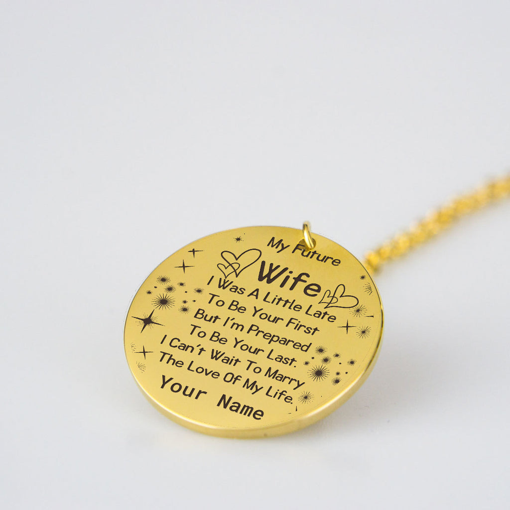 To My Wife Necklace Personalized Name Gold Plated Pendants for Her