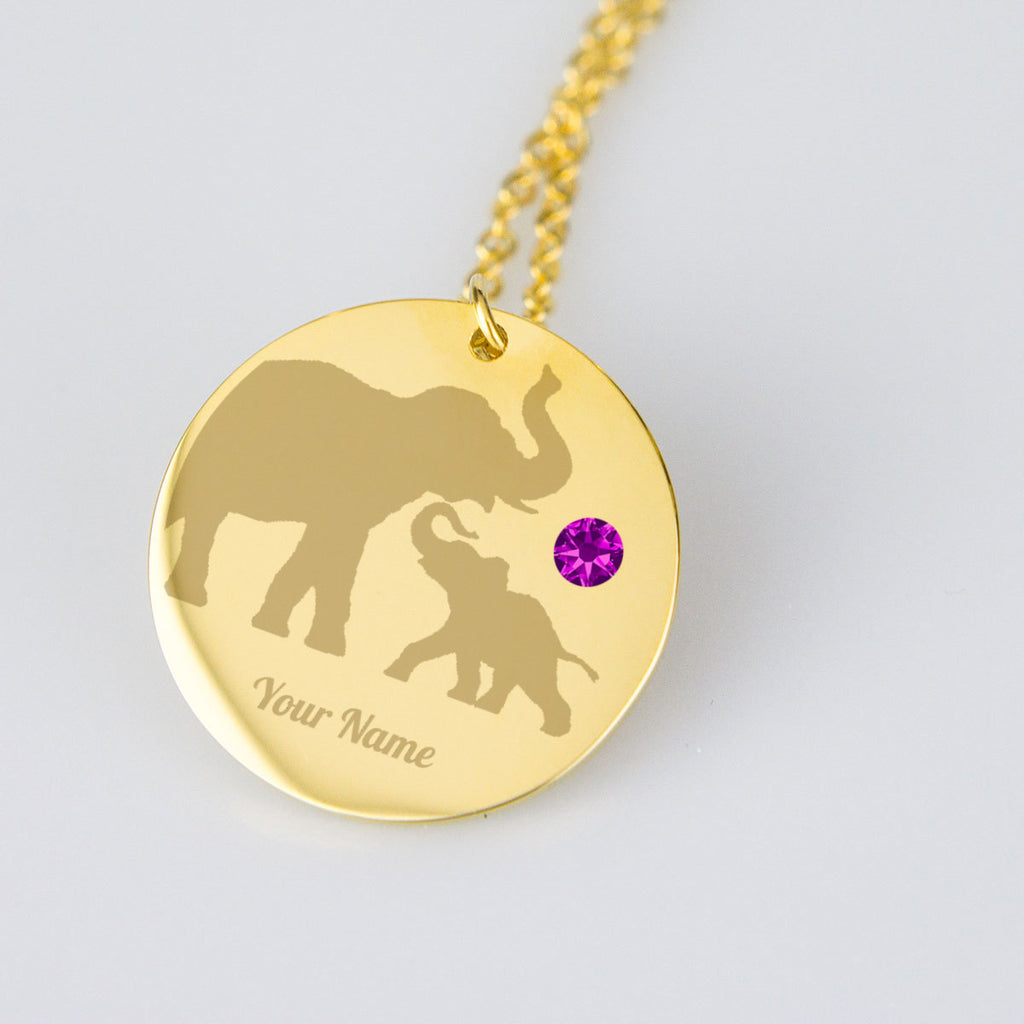 Silhouette of Elephant Elephant Necklace Birthstone