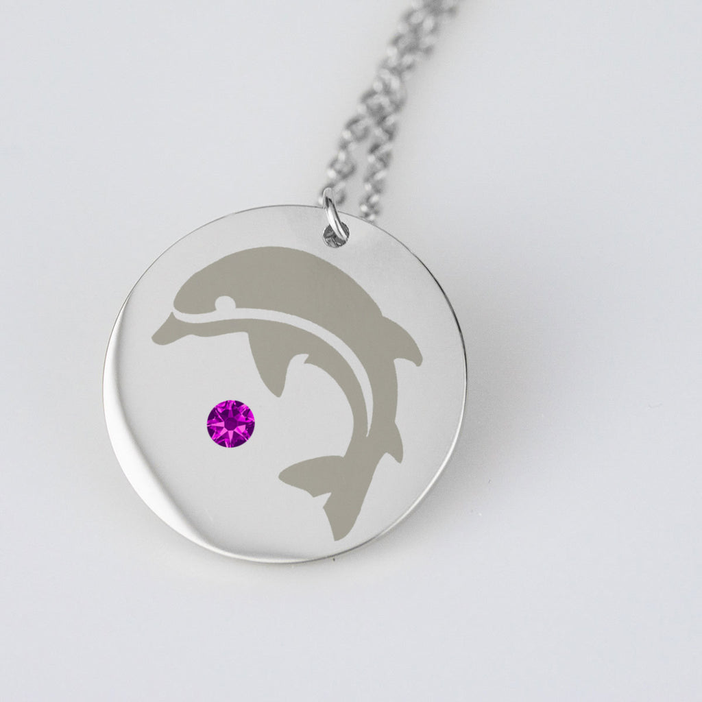 Dolphin Necklace Birthstone Dates Birthday Jewelry Gifts