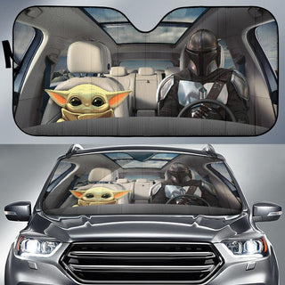 Baby Yoda and Mandalorian Car Auto Sun Shade Star Wars Windshield