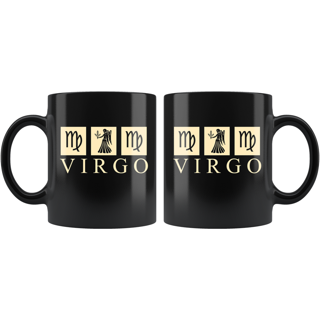 Astrology Virgo Black Ceramic Coffee Mug Quotes Cup Sayings.