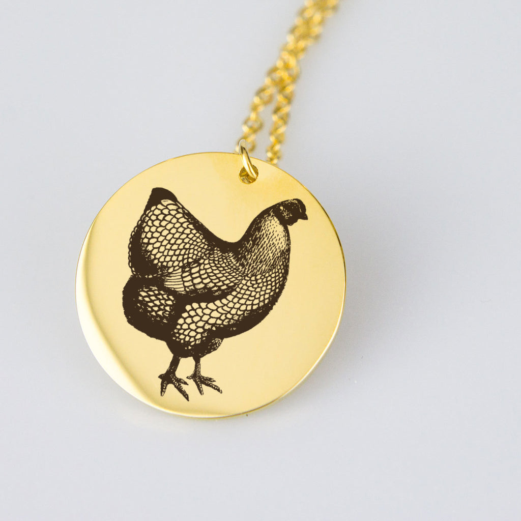 Rooster Necklace Gold Rooster Pendant