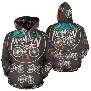 Mountain bike All Over Print Hoodie Pullover Sweatshirt Hooded