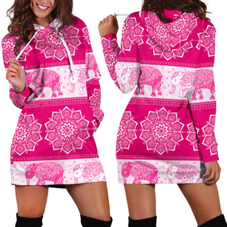 Mandala Elephant Flower Pink Women's Hoodie Dress Sweatshirt Hooded