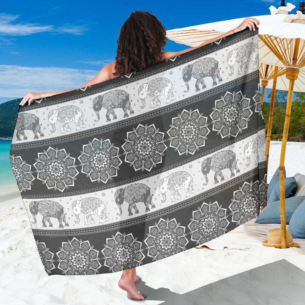 Mandala Elephant Grey Pashmina Sarong Beach Cover Up Shawl Wrap Scarf