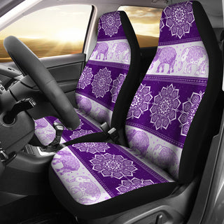 Flower Mandala Elephant Purple Car Seat Covers