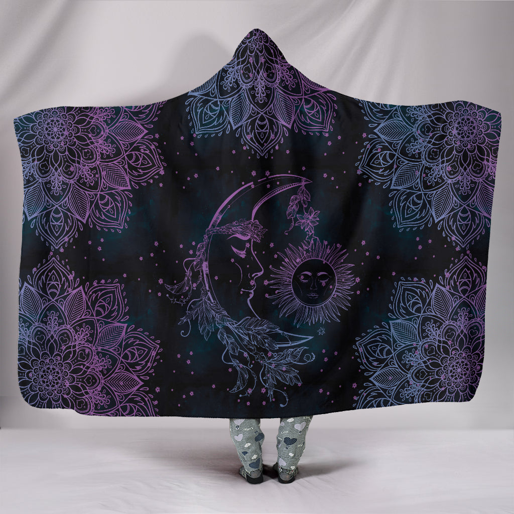 Purple Sun and Moon Hoodie Blanket