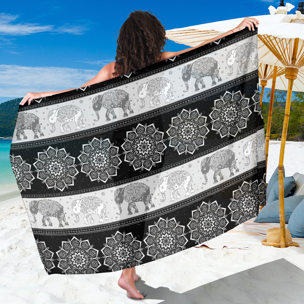 Mandala Elephant Flower Black Sarong Beach Cover Up Shawl Wrap Scarf