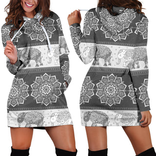 Indian Mandala Elephant Women Hoodie Dress Pullover Sweatshirt Hooded