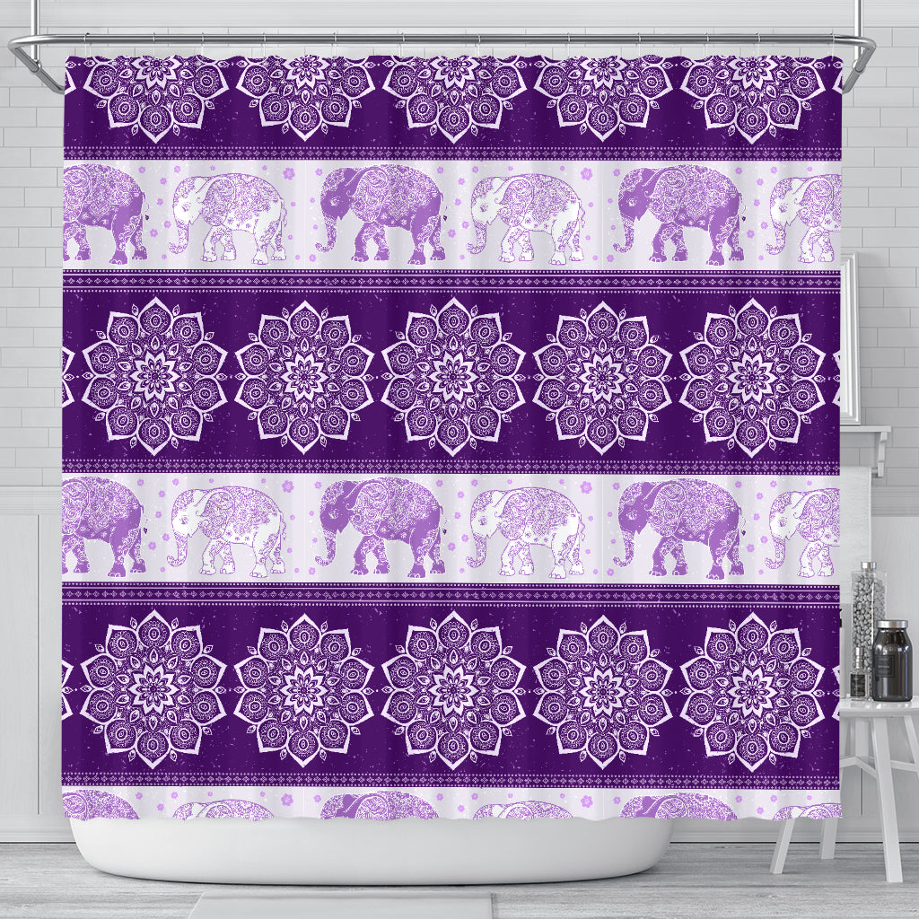 Mandala Elephant Flower Purple Fabric Shower Curtain Bathroom Curtains