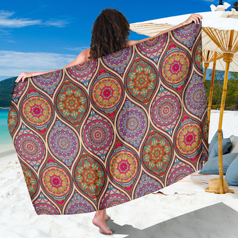 Mandala Flower Pashmina Sarong Beach Cover Up Pareo Shawl Wrap Scarf
