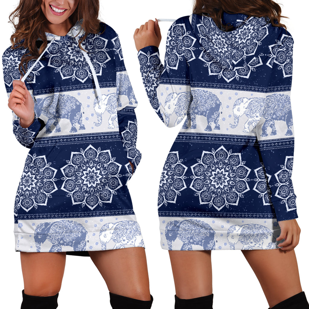 Mandala Elephant Flower Navy Women's Hoodie Dress Sweatshirt Hooded