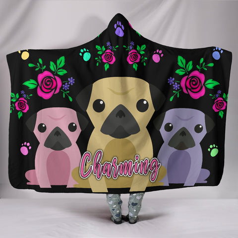 Charming Pug Hooded Blanket with Cute Pug Dogs