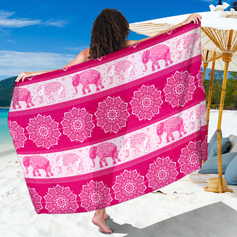 Mandala Elephant Flower Pink Sarong Beach Cover Up Shawl Wrap Scarf