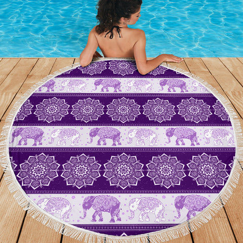 Elephant Blanket Flower Purple Beach Blanket Towel Picnic Yoga Outdoor Mat