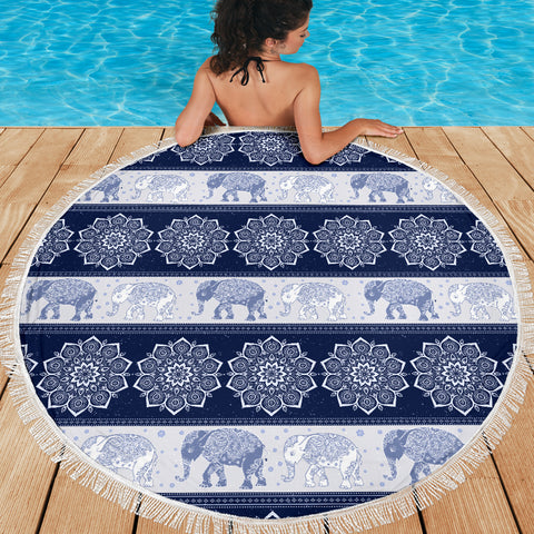 Elephant Blanket Flower Navy Beach Blanket Towel Picnic Yoga Outdoor Mat